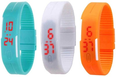 NS18 Silicone Led Magnet Band Combo of 3 Sky Blue, White And Orange Watch  - For Boys & Girls