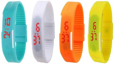 NS18 Silicone Led Magnet Band Combo of 4 Sky Blue, White, Orange And Yellow Watch  - For Boys & Girls