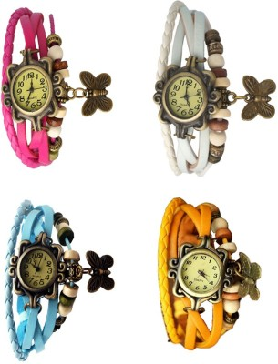 NS18 Vintage Butterfly Rakhi Combo of 4 Pink, Black, Sky Blue And White Watch  - For Women