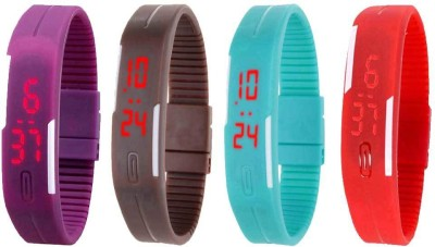 Kissu Led Magnet Band Combo of 4 Purple, Brown, Sky Blue And Red Watch  - For Men & Women