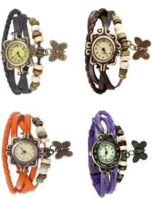 NS18 Vintage Butterfly Rakhi Combo of 4 Black, Orange, Brown And Purple Watch  - For Women