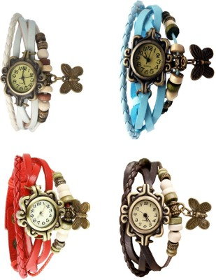 NS18 Vintage Butterfly Rakhi Combo of 4 White, Red, Sky Blue And Brown Watch  - For Women