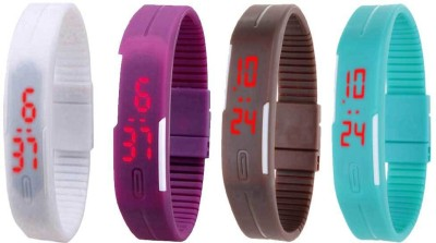 Kissu Led Magnet Band Combo of 4 Black, Red, Blue And Sky Blue Watch  - For Men & Women
