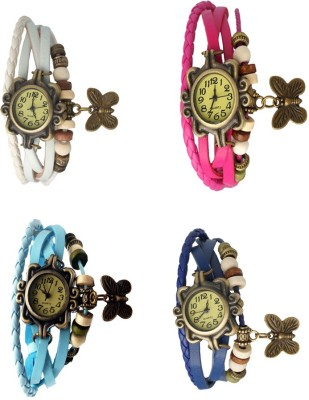 NS18 Vintage Butterfly Rakhi Combo of 4 White, Sky Blue, Pink And Blue Watch  - For Women