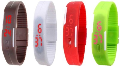 Kissu Led Magnet Band Combo of 4 Brown, White, Red And Green Watch  - For Men & Women