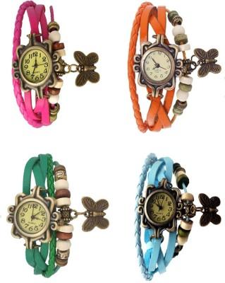 Kissu Vintage Rakhi Combo of 4 Pink, Orange, Green And Sky Blue Watch  - For Women