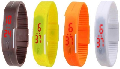 NS18 Silicone Led Magnet Band Combo of 4 Brown, Yellow, Orange And White Watch  - For Boys & Girls