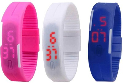 Kissu Led Band Watch Combo of 3 Pink, White And Blue Watch  - For Couple