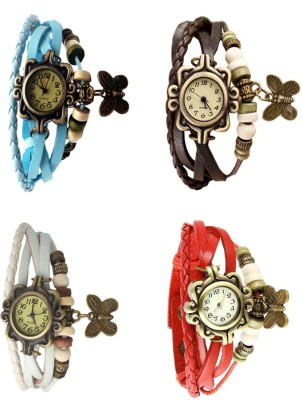 NS18 Vintage Butterfly Rakhi Combo of 4 Sky Blue, White, Brown And Red Watch  - For Women