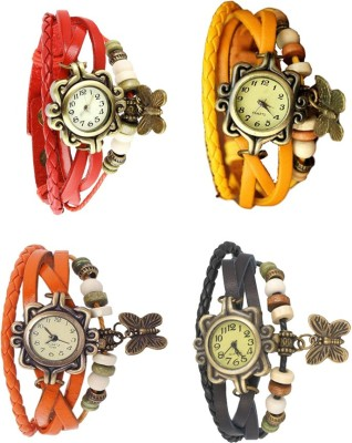 NS18 Vintage Butterfly Rakhi Combo of 4 Red, Orange, Yellow And Black Watch  - For Women