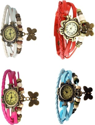 NS18 Vintage Butterfly Rakhi Combo of 4 White, Pink, Red And Sky Blue Watch  - For Women