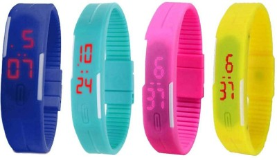 NS18 Silicone Led Magnet Band Combo of 4 Yellow, Sky Blue, Brown And Orange Watch  - For Boys & Girls