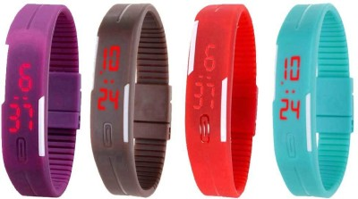 Kissu Led Magnet Band Combo of 4 Purple, Brown, Red And Sky Blue Watch  - For Men & Women