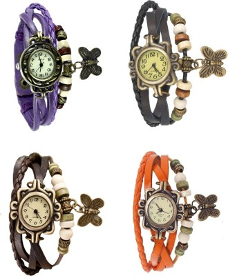 NS18 Vintage Butterfly Rakhi Combo of 4 Purple, Brown, Black And Orange Watch  - For Women