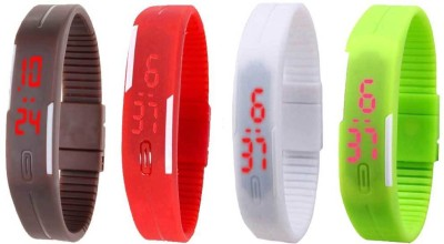 Kissu Led Magnet Band Combo of 4 Brown, Red, White And Green Watch  - For Men & Women