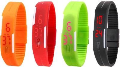 NS18 Silicone Led Magnet Band Combo of 4 Orange, Red, Green And Black Watch  - For Boys & Girls