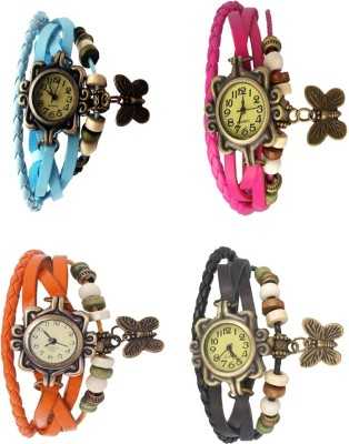 NS18 Vintage Butterfly Rakhi Combo of 4 Sky Blue, Orange, Pink And Black Watch  - For Women