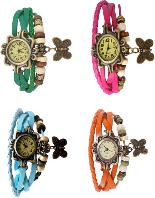 Kissu Vintage Rakhi Combo of 4 Green, Sky Blue, Pink And Orange Watch  - For Women