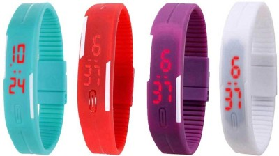 Kissu Led Magnet Band Combo of 4 Red, White, Purple And Blue Watch  - For Men & Women