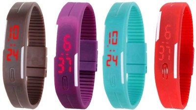 Kissu Led Magnet Band Combo of 4 Brown, Purple, Sky Blue And Red Watch  - For Men & Women