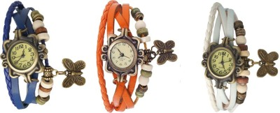 Kissu Vintage Rakhi Watch Combo of 3 Blue, Orange And White Watch  - For Women