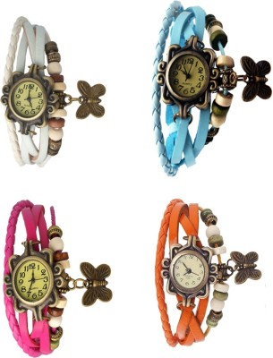 NS18 Vintage Butterfly Rakhi Combo of 4 Brown, White, Pink And Sky Blue Watch  - For Women