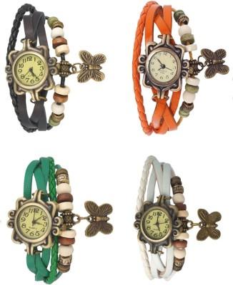 Kissu Vintage Rakhi Combo of 4 Black, Green, Orange And White Watch  - For Women