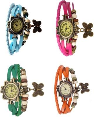 Kissu Vintage Rakhi Combo of 4 Sky Blue, Green, Pink And Orange Watch  - For Women