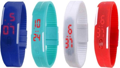NS18 Silicone Led Magnet Band Watch Combo of 4 Blue, White, Sky Blue And Red Watch  - For Couple