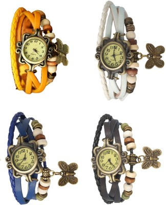 NS18 Vintage Butterfly Rakhi Combo of 4 Yellow, Black, White And Blue Watch  - For Women