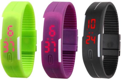 RSN Silicone Led Magnet Band Combo of 3 Green, Purple And Black Watch  - For Men & Women