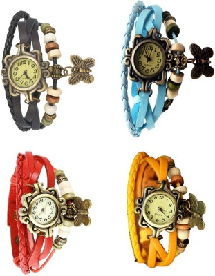 NS18 Vintage Butterfly Rakhi Combo of 4 Black, Red, Sky Blue And Yellow Watch  - For Women