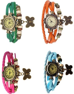 NS18 Vintage Butterfly Rakhi Combo of 4 Green, Pink, Orange And Sky Blue Watch  - For Women