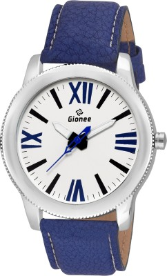 Gionee g014 Analog White Round Dial and Blue Leather Strap Casual Wrist Watch  - For Men