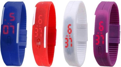 Kissu Led Magnet Band Combo of 4 Blue, Red, White And Purple Watch  - For Men & Women