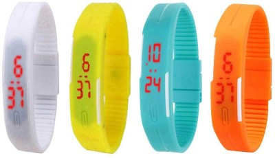NS18 Silicone Led Magnet Band Combo of 4 White, Yellow, Sky Blue And Orange Watch  - For Boys & Girls