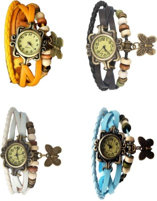 NS18 Vintage Butterfly Rakhi Combo of 5 Red, Sky Blue, White, Yellow And Black Watch  - For Women