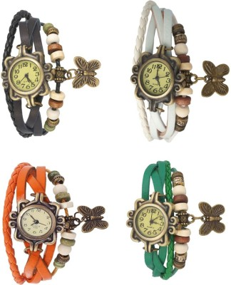 NS18 Vintage Butterfly Rakhi Combo of 4 White, Green, Black And Orange Watch  - For Women