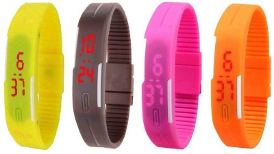 NS18 Silicone Led Magnet Band Combo of 4 Orange, Brown, Pink And Yellow Watch  - For Boys & Girls