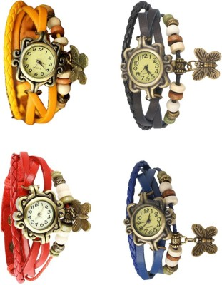 NS18 Vintage Butterfly Rakhi Combo of 4 Yellow, Red, Black And Blue Watch  - For Women