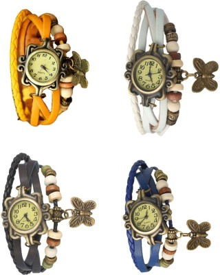NS18 Vintage Butterfly Rakhi Combo of 4 Yellow, Blue, White And Black Watch  - For Women