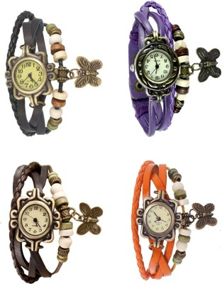 NS18 Vintage Butterfly Rakhi Combo of 4 Brown, Black, Purple And Orange Watch  - For Women