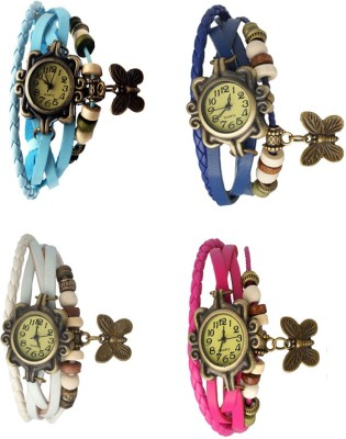 NS18 Vintage Butterfly Rakhi Combo of 4 Sky Blue, White, Pink And Blue Watch  - For Women