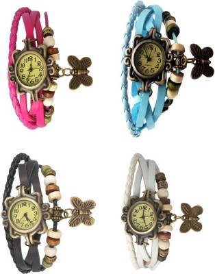 NS18 Vintage Butterfly Rakhi Combo of 4 Pink, Sky Blue, White And Yellow Watch  - For Women