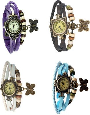 NS18 Vintage Butterfly Rakhi Combo of 4 White, Purple, Black And Sky Blue Watch  - For Women