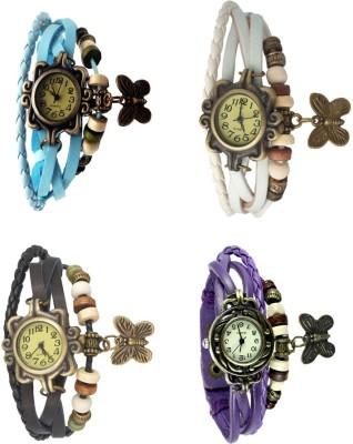 NS18 Vintage Butterfly Rakhi Combo of 4 Sky Blue, Black, White And Purple Watch  - For Women