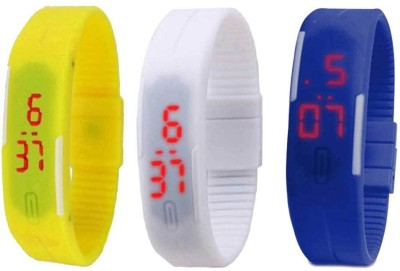 RSN Silicone Led Magnet Band Combo of 3 Yellow, White And Blue Digital Watch  - For Men & Women