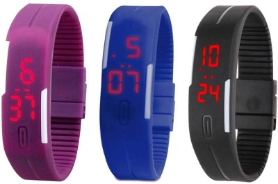 RSN Silicone Led Magnet Band Combo of 3 Purple, Blue And Black Digital Watch  - For Boys