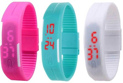 NS18 Silicone Led Magnet Band Combo of 3 Black, Sky Blue And White Watch  - For Boys & Girls