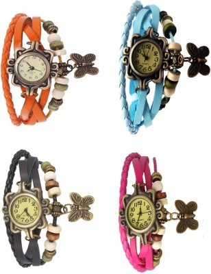 NS18 Vintage Butterfly Rakhi Combo of 4 Orange, Black, Sky Blue And Pink Watch  - For Women